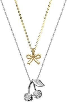Alex Woo 14K Yellow Gold & Sterling Silver Mini Bow & Diamond Cherries Pendant Necklace - Set of 2 - 0.04 ctw