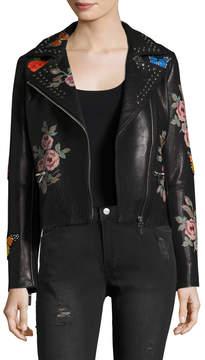 Bagatelle Leather Printed Embellished Motorcycle Jacket