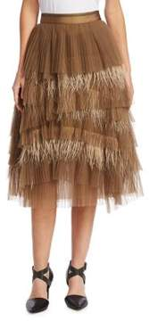Brunello Cucinelli Tuelle and Feather Pleated Skirt