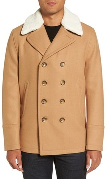 Michael Kors Men's Peacoat With Faux Shearling Collar