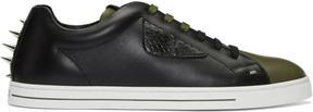Fendi Black and Green Stud Sneakers