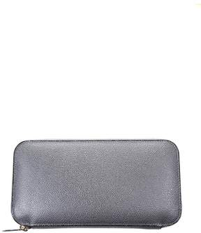 Valextra Grey Leather Zip Around Wallet