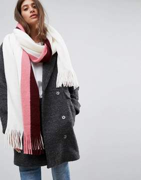 Asos Long Tassel Scarf in Supersoft Knit With Side Stripe
