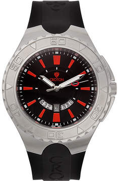 Croton Mens Black and Red Stainless Steel Watch