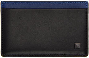 Valentino Black and Blue Garavani Rockstud Card Holder