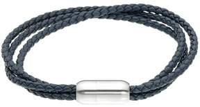 Lynx Men's Stainless Steel Magnetic Lock Leather Bracelet
