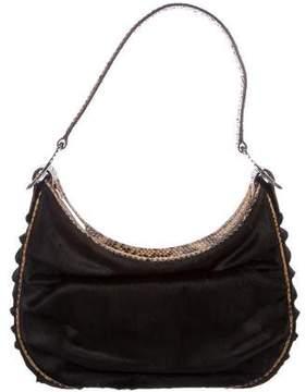 Judith Leiber Snakeskin-Trimmed Ponyhair Shoulder Bag