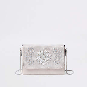 River Island Cream embellished velvet boxy cross body bag