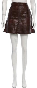 Calvin Klein Collection Leather Patchwork Skirt