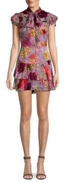 Alice + Olivia Lashay Tie-Neck Tiered Ruffle Floral Chiffon A-Line Dress