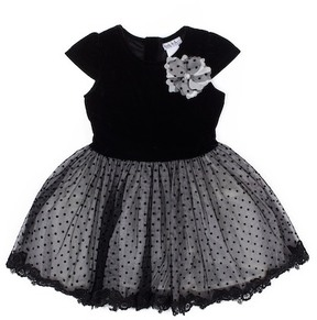 Nicole Miller Velvet Cap Sleeve Top & Flocked Tulle Lace Trim Bottom Dress (Toddler Girls)