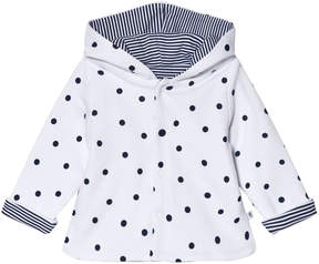 Absorba White and Navy Reversible Spot and Stripe Hooded Jacket