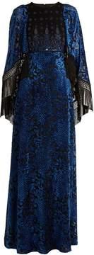 Andrew Gn Embellished cape-sleeved velvet-devoré gown