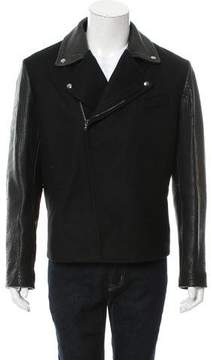 Carven Virgin Wool Leather Moto Jacket