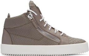 Giuseppe Zanotti Grey Python-Embossed London High-Top Sneakers