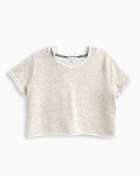 Splendid Girl Speckle Embroidered Cropped Hoodie