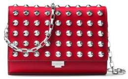 Michael Kors Yasmeen Small Studded Leather Clutch - CRIMSON - STYLE