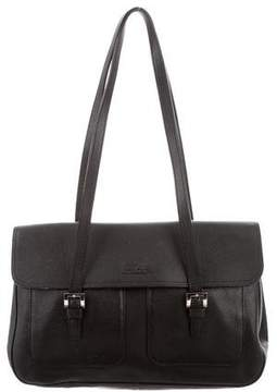 Longchamp Grained Leather Shoulder Bag - BLACK - STYLE