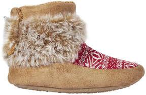 Joe Fresh Kid Girls' Faux Fur Print Moccasins, Red (Size M)