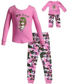 Dollie & Me Girls 4-14 We Can Girl Camouflaged Top & Bottoms Pajama Set