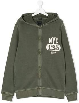 Woolrich Kids TEEN NYC logo print zip hoodie
