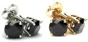 Black Diamond Pompeii3 4.00 Ct Round Heat Treated 14K White Or Yellow Gold Studs Earrings in Basket Setting
