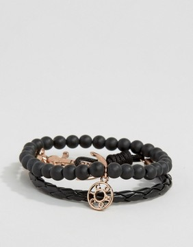 ICON BRAND Silverball Anchor Bracelet In Black/Rose Gold