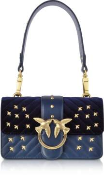Pinko Velvet and Leather Mini Love Metal Birds Shoulder Bag