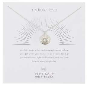 Dogeared Sterling Silver Radiate Love Crystal Accent Disc Charm Necklace