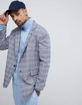 Asos DESIGN Oversized Blazer In Blue Seersucker Check