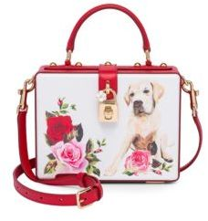 Dolce & Gabbana Graphic Leather Handbag - WHITE-RED - STYLE