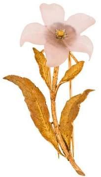 Buccellati 18K Carved Rose Quartz Flower Brooch