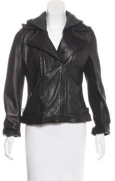 DKNY Knit-Trimmed Leather Jacket
