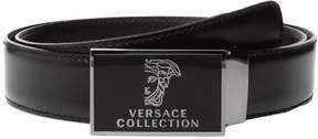 Versace Men's Half Medusa Plaque Buckle Leather Belt Black V910180