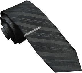 Jf J.Ferrar JF Textured Tonal Tie and Tie Bar Set - Skinny