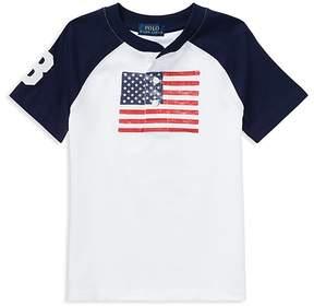 Polo Ralph Lauren Boys' Cotton Jersey American Flag Henley Tee - Little Kid