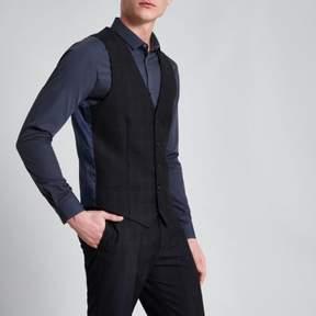 River Island Mens Navy check print smart suit vest