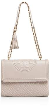Tory Burch Fleming Convertible Leather Shoulder Bag - BEDROCK/GOLD - STYLE