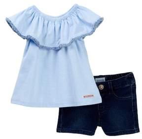 Hudson A-Line Flutter Sleeve Top & Shorts Set (Baby Girls)