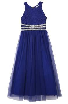 Speechless Girls 7-16 Rhinestone Waistband Floral Lace Bodice Dress