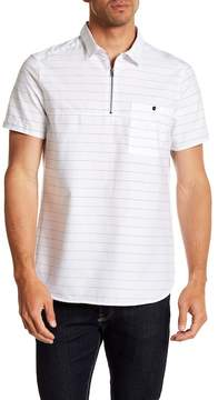 Kenneth Cole New York Zipped Striped Pullover Shirt