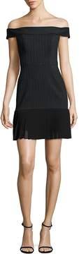 ABS by Allen Schwartz Women's Off-The-Shoulder Pleated Hem Dress