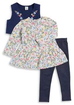 Little Me Baby Girls Three-Piece Floral Top Quilted Vest and Denim Leggings Set