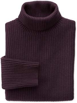 Charles Tyrwhitt Wine Rib Roll Neck Wool Sweater Size Large