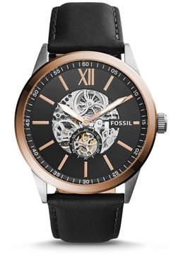 Fossil Flynn Mechanical Black Leather Watch