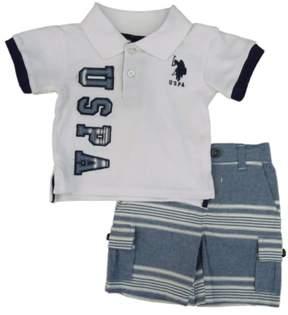 Polo Ralph Lauren U.S. Polo Assn. Infant & Toddler Boys White Shirt & Striped Shorts Set 12m