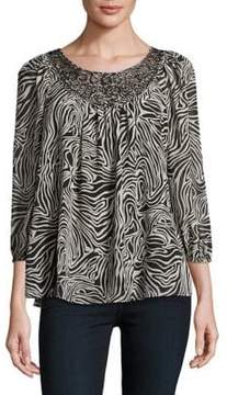 Context Swirl-Accented Patterned Top