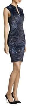 Elie Tahari Arabella Piped Velvet Sheath Dress