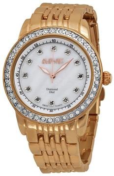 August Steiner Rose Gold-tone Diamond Ladies Watch