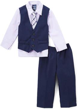 Izod Lilac Plaid Button-Up Set - Toddler